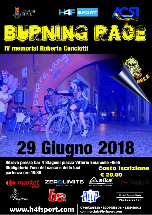 TUTTO PRONTO A RIETI PER LA BURNING RACE